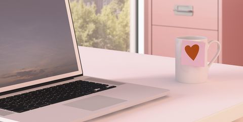 Laptop, Pink, Desk, Product, Computer desk, Electronic device, Technology, Computer, Furniture, Table,