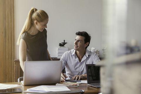 Conversation, White-collar worker, Job, Employment, Office, Interior design, Sitting, Furniture, Tableware,