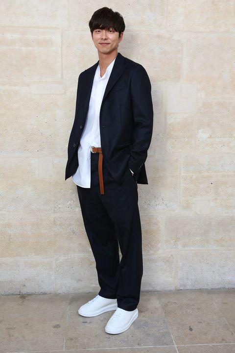 Suit, Clothing, Blazer, Standing, Formal wear, Outerwear, Tuxedo, Jacket, White-collar worker, Shoe,
