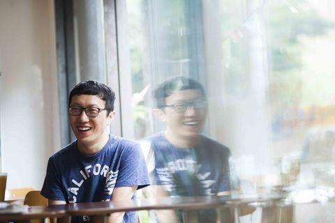 Glasses, Vision care, Happy, T-shirt, Transparent material, Top, Laugh,