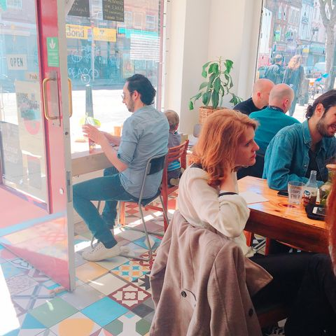 Sitting, Furniture, Sharing, Chair, Conversation, Customer, Paint, Tile,