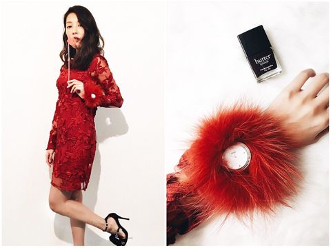 Hairstyle, Red, Dress, Style, Beauty, One-piece garment, Fashion, Costume accessory, Wrist, Maroon,
