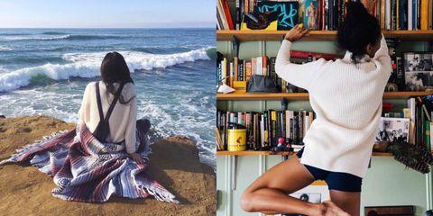 Bookcase, Shelving, Shelf, Ocean, Publication, Black hair, Thigh, Beach, Book, Long hair,