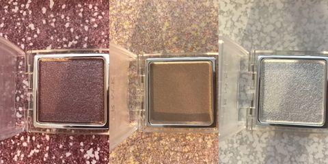 Eye shadow, Eye, Product, Brown, Organ, Material property, Rectangle, Cosmetics, Metal,