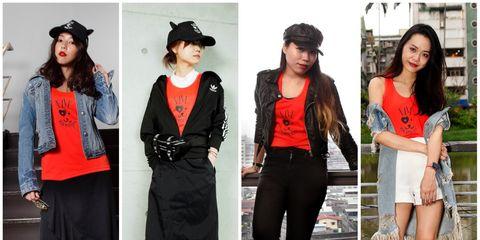 Clothing, Footwear, Sleeve, Outerwear, White, Hat, Style, Street fashion, Headgear, Costume accessory,