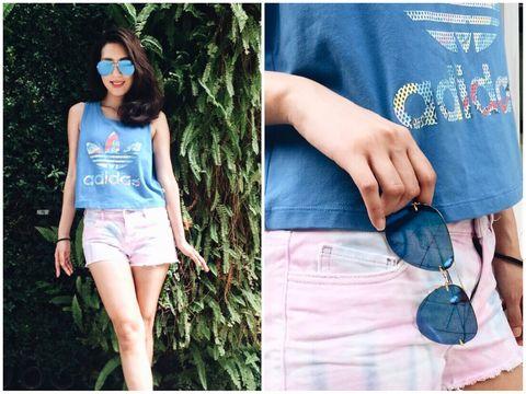 Blue, Clothing, Denim, Jeans, Street fashion, Eyewear, Fashion, Shorts, Turquoise, Electric blue,