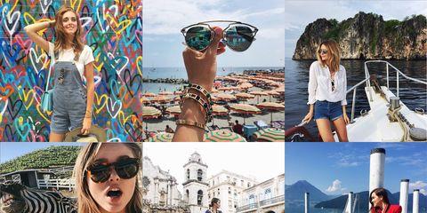 Clothing, Eyewear, Vision care, Tourism, Photograph, Leisure, Summer, Sunglasses, Street fashion, Collage,