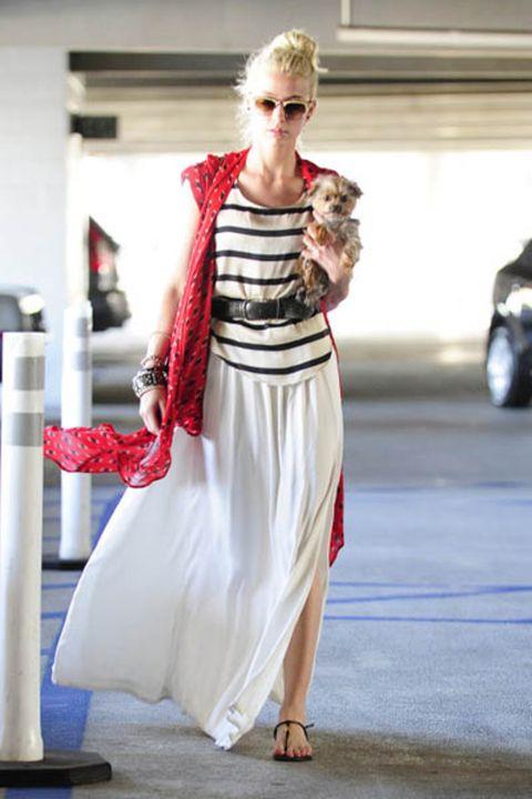 Dress, Outerwear, Red, Sunglasses, Style, Street fashion, Fashion, Sandal, Costume design, Fashion model,