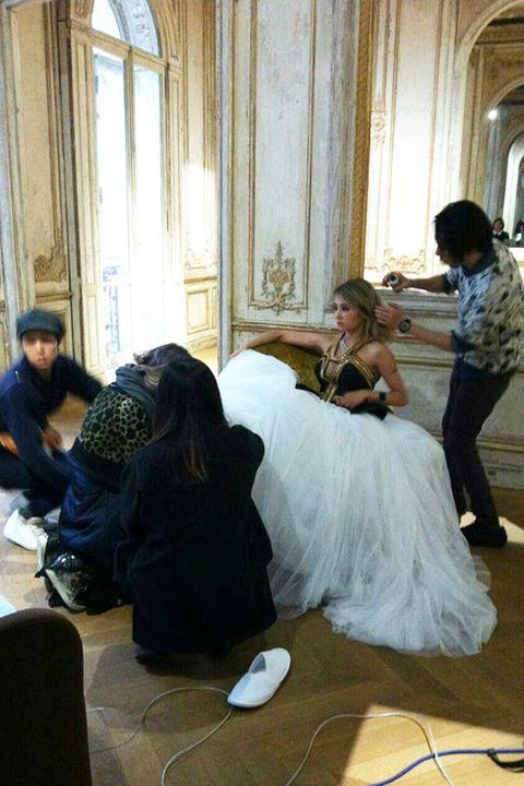 Floor, Flooring, Dress, Bridal clothing, Interior design, Wedding dress, Gown, Black hair, Bride, Ceremony,