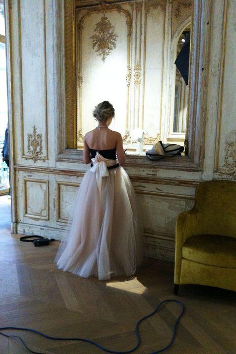 Floor, Flooring, Dress, Formal wear, Bridal clothing, Wedding dress, Cable, Gown, Waist, Bride,