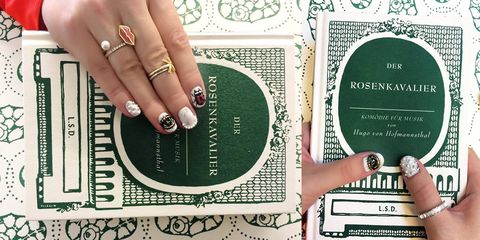 Finger, Nail, Font, Jewellery, Pattern, Wrist, Teal, Ring, Nail care, Design,