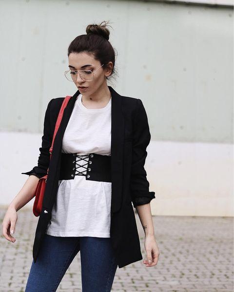 Clothing, White, Black, Street fashion, Blazer, Outerwear, Shoulder, Black-and-white, Fashion, Snapshot,