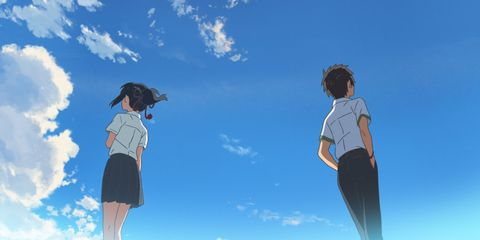 Blue, Sky, Cloud, Standing, People in nature, Electric blue, Azure, Active pants, Waist, Back,