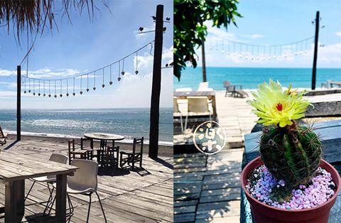Flowerpot, Coastal and oceanic landforms, Table, Furniture, Outdoor furniture, Ocean, Outdoor table, Beach, Shore, Sea,