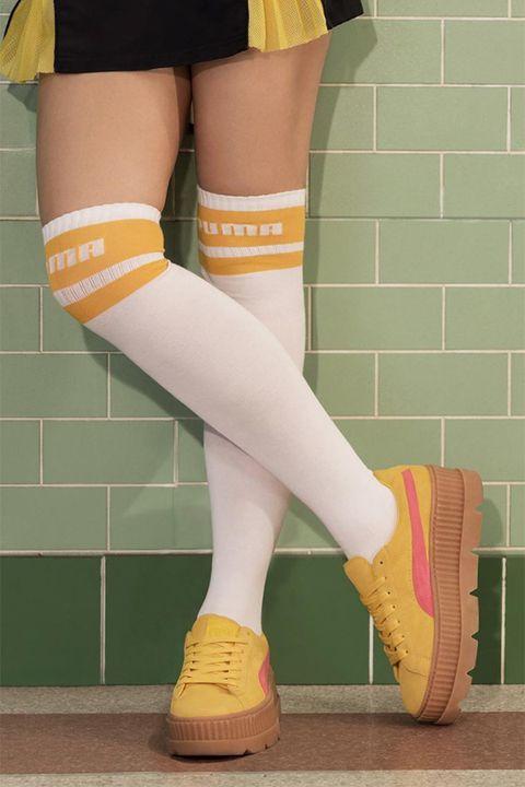 Human leg, Leg, Thigh, Green, Yellow, Footwear, Sock, Calf, Joint, Knee,