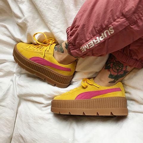 Footwear, Yellow, Shoe, Magenta, Sneakers, Floor, Comfort,