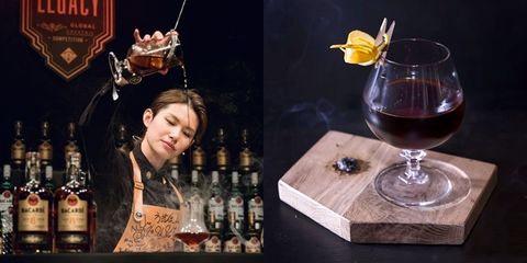 Drink, Distilled beverage, Liqueur, Alcoholic beverage, Classic cocktail, Barware, Wine cocktail, Alcohol, Snifter, Bartender,