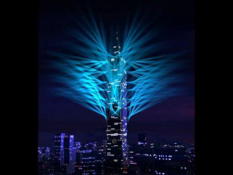 Blue, Tower, Night, Darkness, City, Urban area, Metropolitan area, Colorfulness, Tower block, Metropolis,