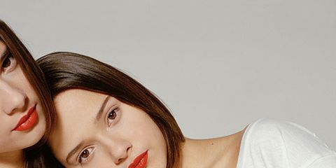 Lip, Sleeve, Red, Denim, Collar, Carmine, Love, Eyelash, Flash photography, Brown hair,