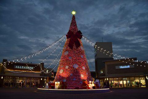 Landmark, Christmas decoration, Tree, Sky, Metropolitan area, Lighting, Tower, Architecture, Christmas tree, Christmas,