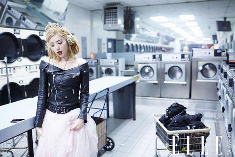 Washing machine, Laundry room, Clothes dryer, Cart, Shopping cart, Laundry, Machine, Fashion design, Makeover, Headpiece,