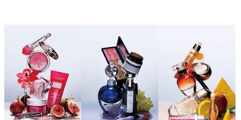 Perfume, Still life photography, Peach, Cosmetics, Produce, Fruit, Bottle, Present,