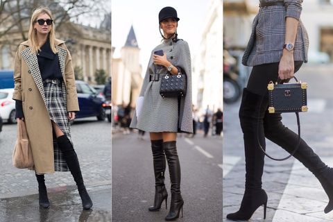Clothing, Street fashion, Fashion, Boot, Footwear, Knee-high boot, Coat, Knee, Ankle, Snapshot,