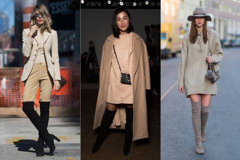 Clothing, Street fashion, Coat, Fashion, Overcoat, Footwear, Fashion model, Outerwear, Knee, Knee-high boot,