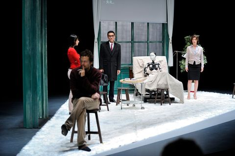 Stage, Drama, Scene, Conversation, Acting, heater, Curtain, Stool, Suit trousers,