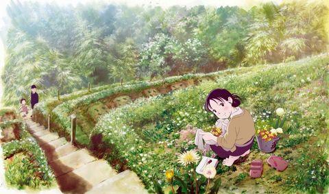 Botany, Spring, Watercolor paint, Flower, Illustration, Plant, Landscape, Anime, Fictional character, Art,