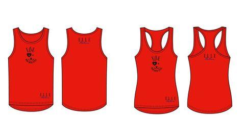 Product, Sportswear, Sleeveless shirt, Red, Text, Jersey, Line, Uniform, Font, Pattern,