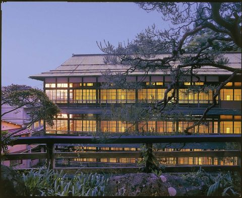 Architecture, Sky, Building, Tree, House, Morning, Home, Reflection, Japanese architecture, Plant,