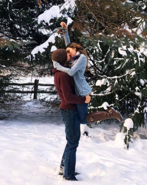 Snow, Winter, Freezing, Footwear, Interaction, Tree, Fun, Hug, Jeans, Outerwear,