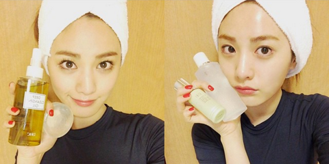 Nose, Lip, Yellow, Skin, Plastic bottle, Makeover, Top, Bottle, Headband, Active shirt,