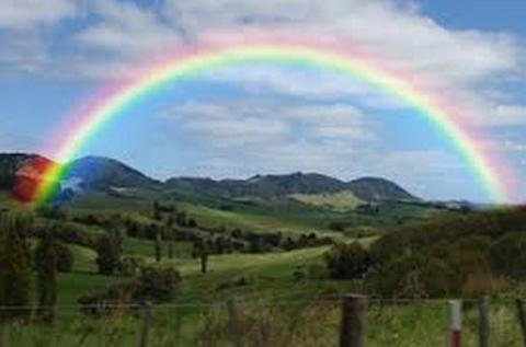 Nature, Vegetation, Green, Natural landscape, Sky, Daytime, Mountainous landforms, Natural environment, Rainbow, Colorfulness,