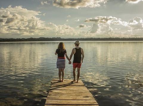 Cloud, Water, People in nature, Summer, Horizon, Dress, Bank, Vacation, Lake, Boardwalk,