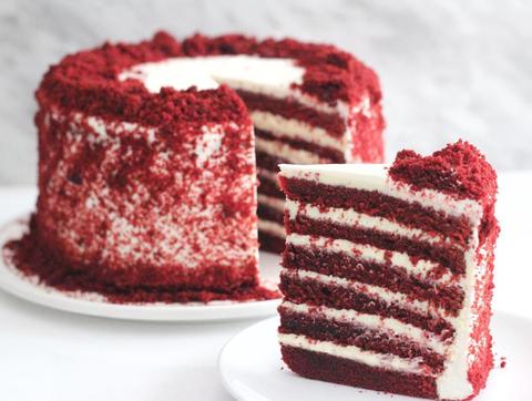 Food, Red velvet cake, Dessert, Baked goods, Dish, Cake, Cuisine, Frozen dessert, Snack cake, Ingredient,