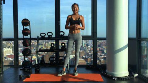 Standing, Flooring, Active pants, Physical fitness, Waist, Thigh, Column, Exercise, Carpet, Balance,