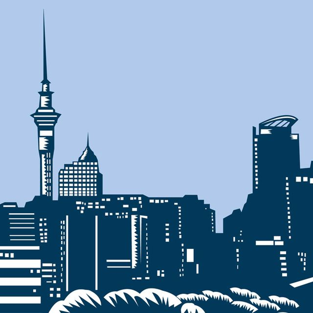 Illustration of the Auckland city skyline with the sky tower in background in Auckland New Zealand set inside oval done in retro woodcut style.