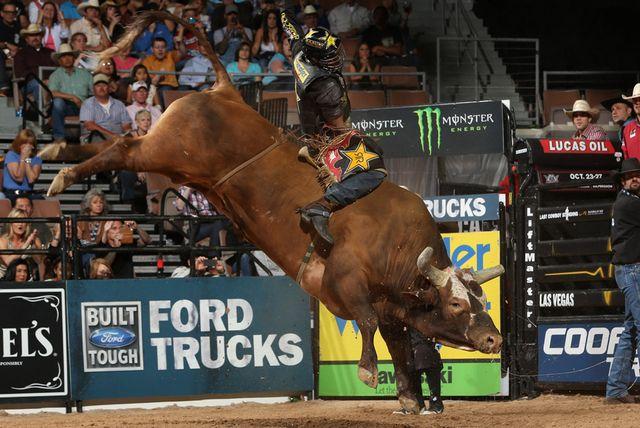 a bull rider sits atop a brown bull as it kicks its hind legs in the air