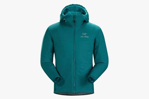 a teal zippered puffy jacket