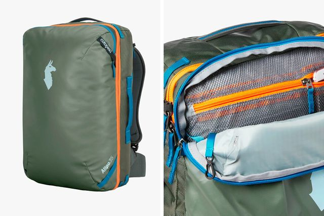 a large green backpack with orange and blue accents
