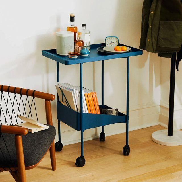 blue metal bar cart
