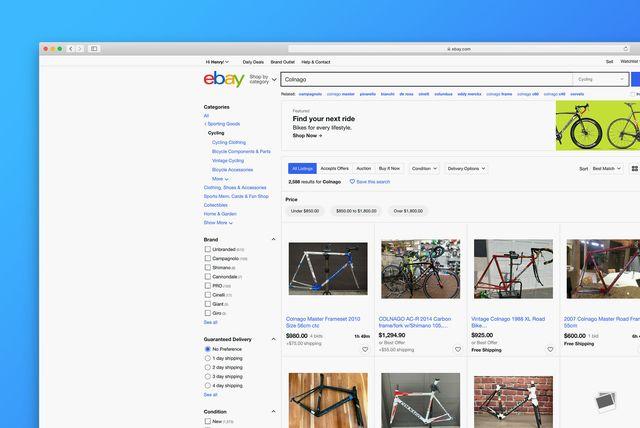 a screenshot of used bike listings on ebay