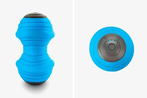 a blue foam roller