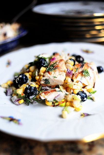 Grilled Chicken Salad With Feta Fresh Corn And Blueberries