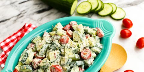 Cucumber and Tomato Salad with Creamy Herb Dressing