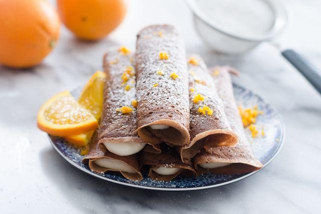 Chocolate Crepes with Orange Cream Cheese Whipped Cream