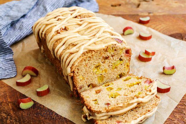 Cinnamon Rhubarb Bread with Brown-Butter Glaze