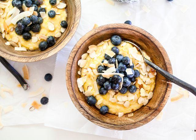 Lemon Blueberry and Coconut Sweet Breakfast Grits